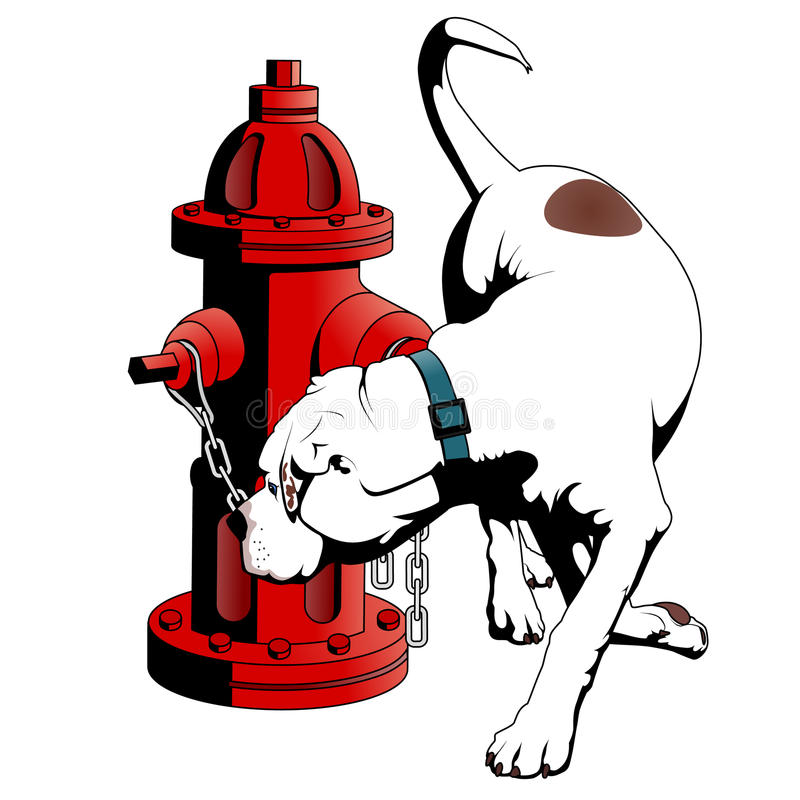 Download American Bulldog At The Fire Hydrant Stock Vector - Illustration: 18070821