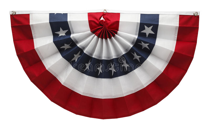 American Bunting. Stars and Stripes USA Pleated Bunting Isolated on White Background stock photo