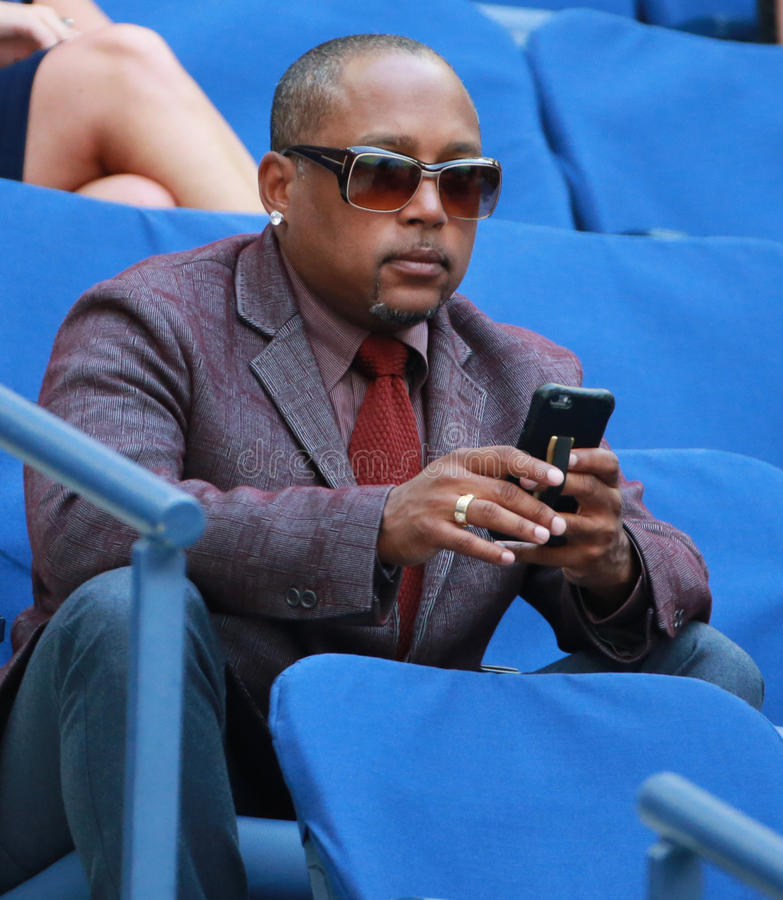 American businessman, investor, TV personality and motivational speaker Daymond John attends US Open 2016 match royalty free stock photo
