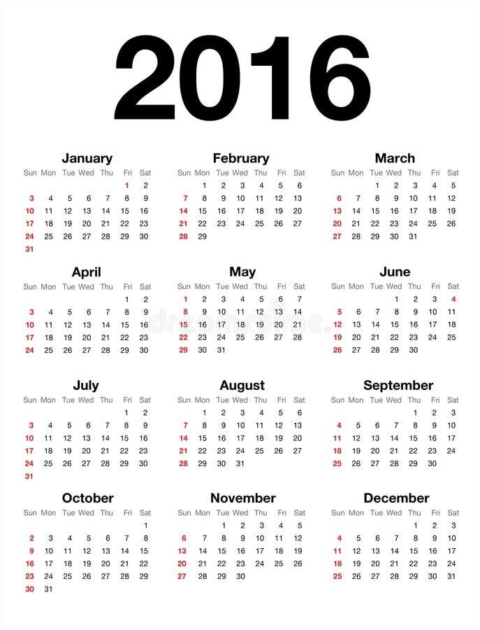 American Calendar for 2016 stock illustration