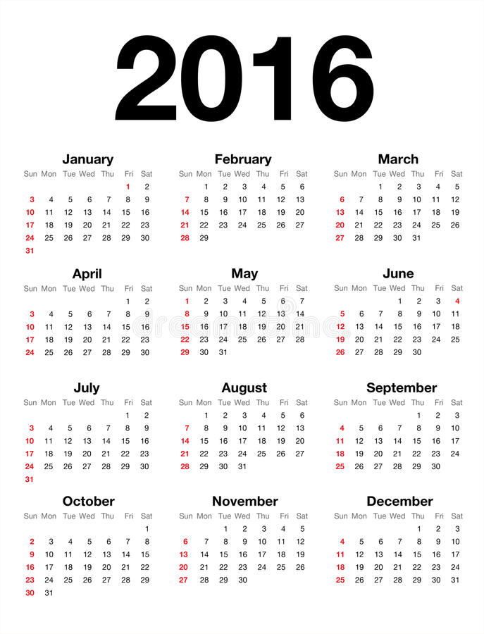 Free American Calendar For 2016 Royalty Free Stock Photography - 61843087