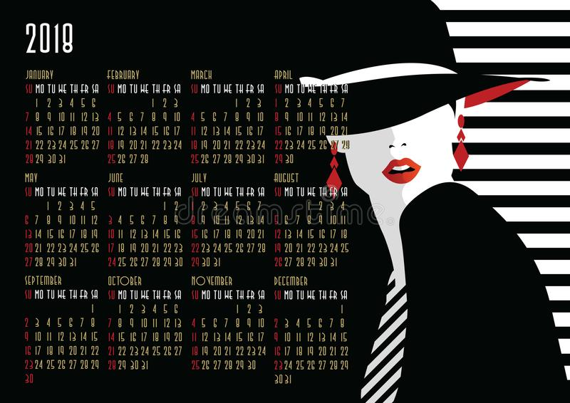 Calendar with fashion girl in style Pop art. American and Canadian calendar with fashion girl in style Pop art stock illustration