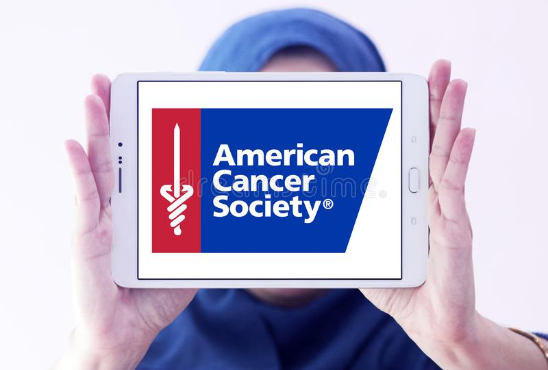 American Cancer Society , ACS, logo. Logo of American Cancer Society , ACS, on samsung tablet holded by arab muslim woman. The American Cancer Society ACS is a stock images