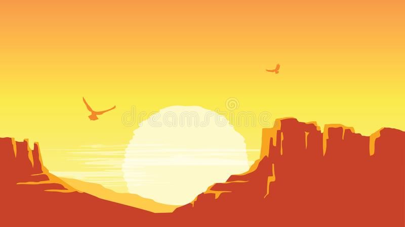 American canyon with sky background. Vector prairie landscape with sun. American canyon with sky background. Vector prairie landscape desert with sun royalty free illustration