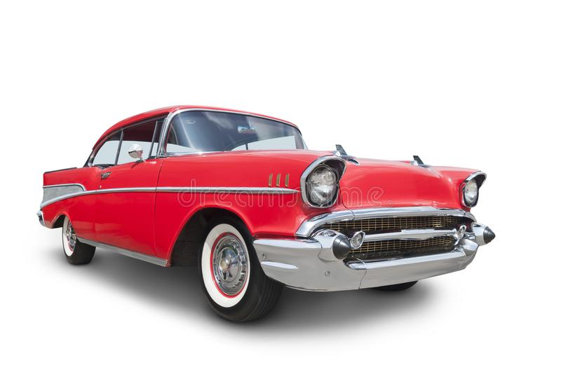 1957 American Car. A classic American car, isolated on a white background with clipping path included. See my portfolio for more automotive images stock photography