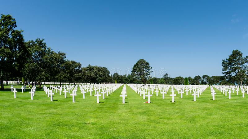 American cemetery in Colleville sur Mer Normandy. Alignment of graves of American soldiers fallen during the Second World War in Normandy in France royalty free stock image