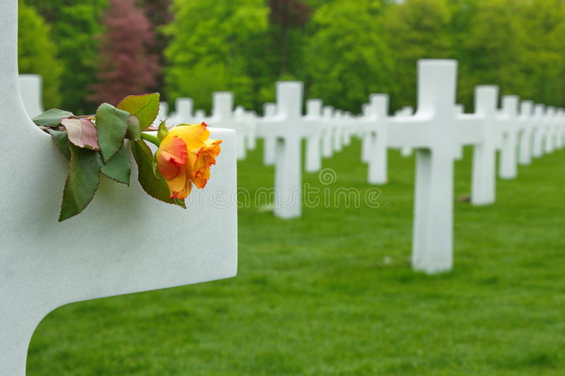 American Cemetery in Luxembourg - marble crosses. Picture of the American cemetery situated in Luxembourg city, Europe. on the place beside the white marble stock images