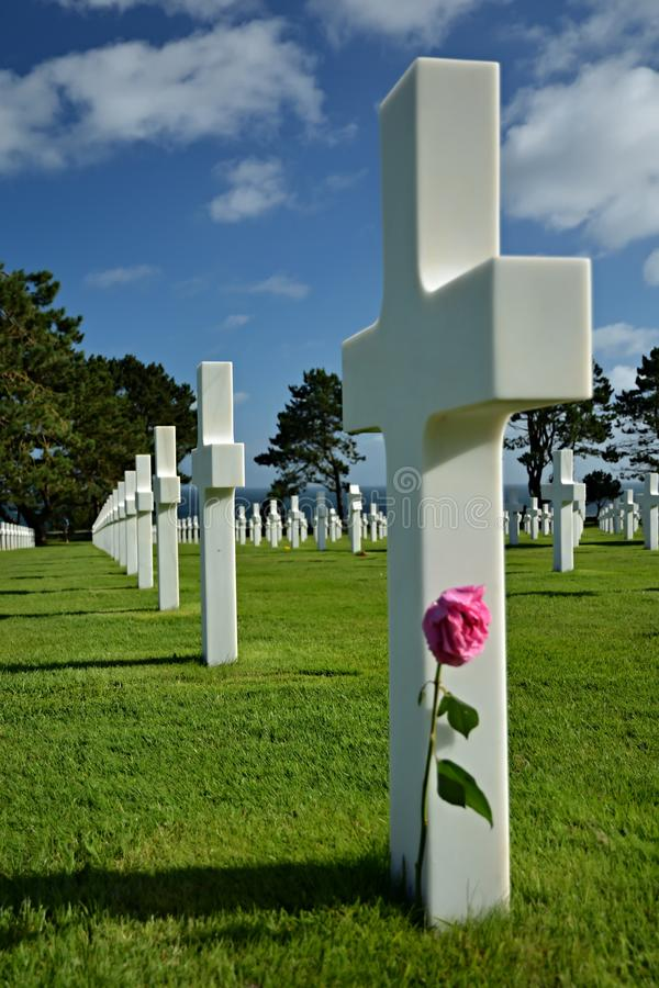 American cemetery near Omaha Beach royalty free stock photo