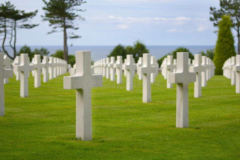 American cemetery in Normandy. Many white crosses at the american cemetery near Omaha beach in Normandy, France stock photo