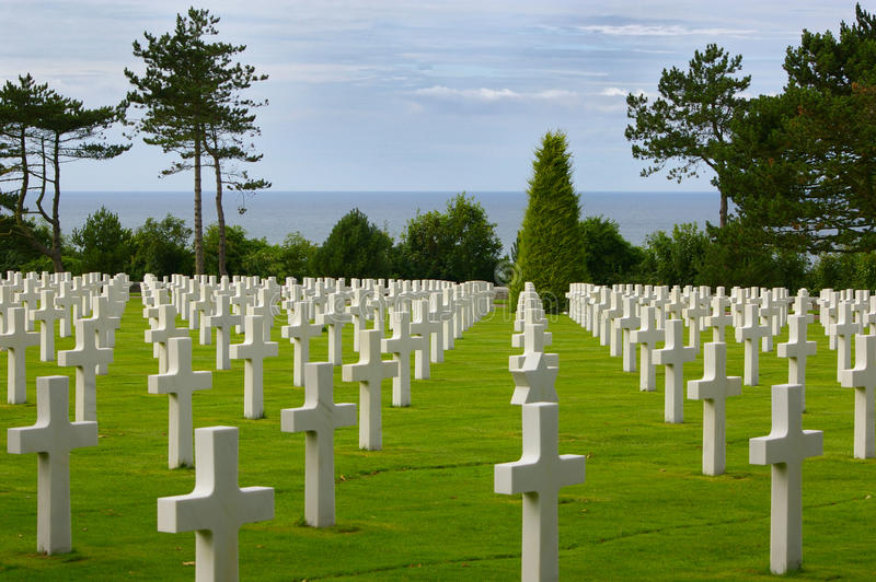 American cemetery in Normandy. White crosses at the American war cemetery in Normandy stock photography