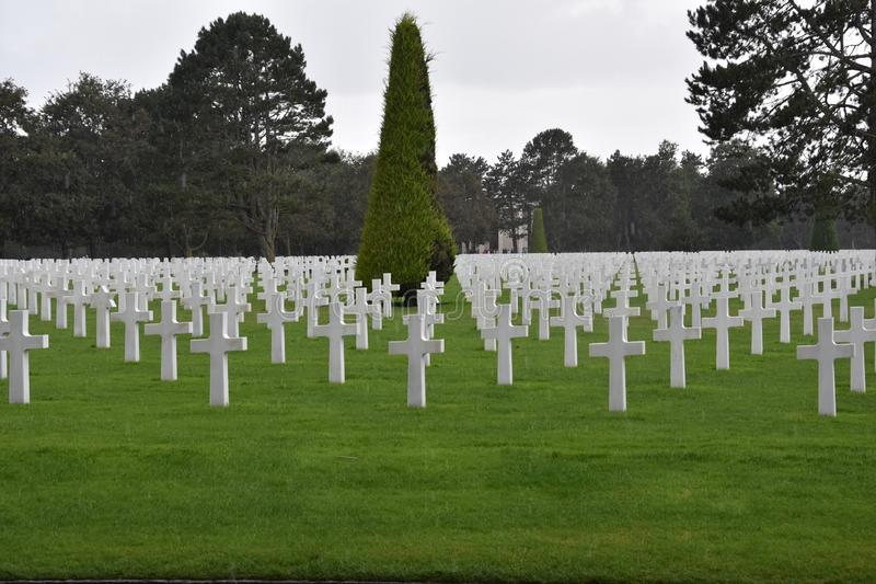 American Cemetery at  Omaha Beach in Normandy France. American Cemetery at Normandy in Colleville sur Mer n at Omaha Beach, France stock photo