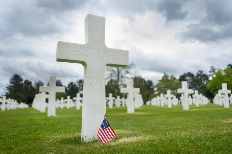 American Cemetery at Normandy. France,Cross of an unknown soldier stock image