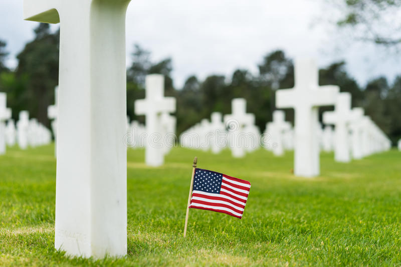 American Cemetery at Normandy. France,Cross of an unknown soldier royalty free stock photos