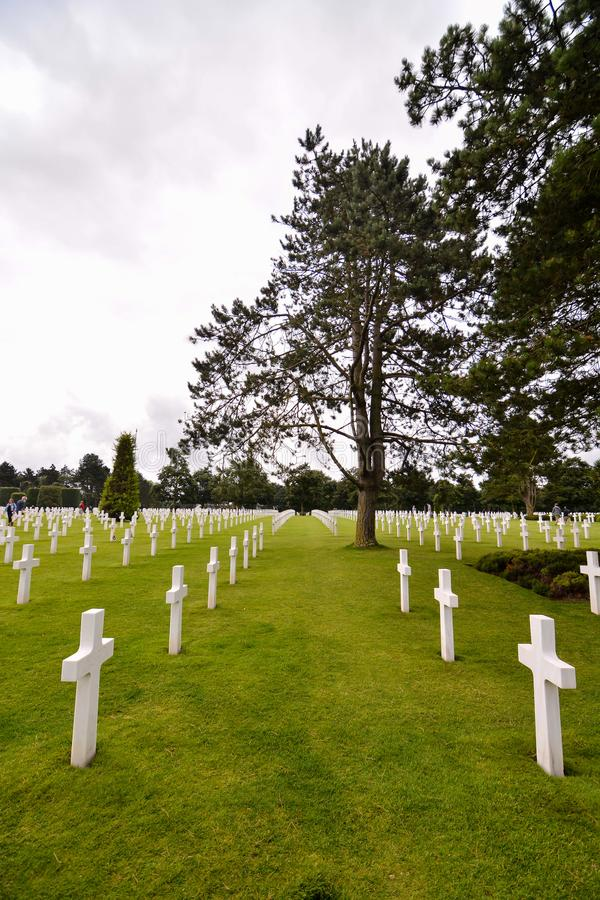 American Cemetery in Normandycemetery, cross, war, death, american, memorial, france, soldier, normandy, military, beach, grave, w. Photo Picture of French stock images