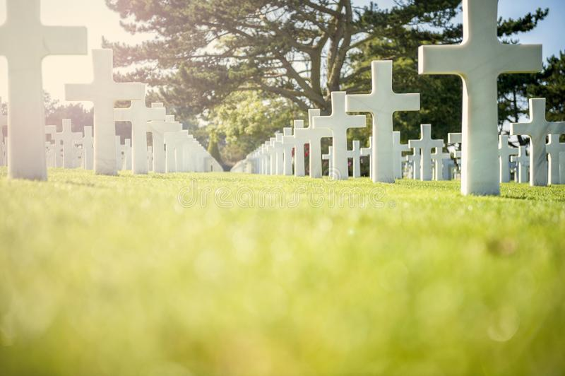 American cemetery in Omaha Beach, Normandy, France. royalty free stock photo