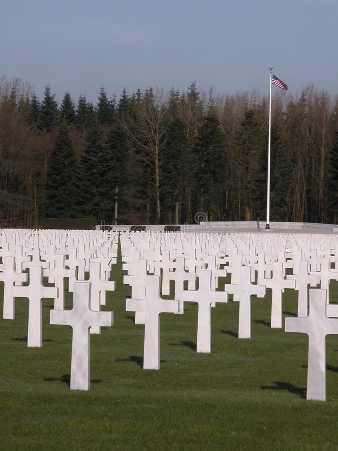 American cemetery with US flag royalty free stock images