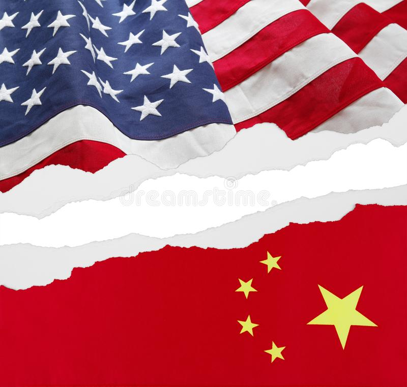 American and China flags. Torn apart royalty free stock photo