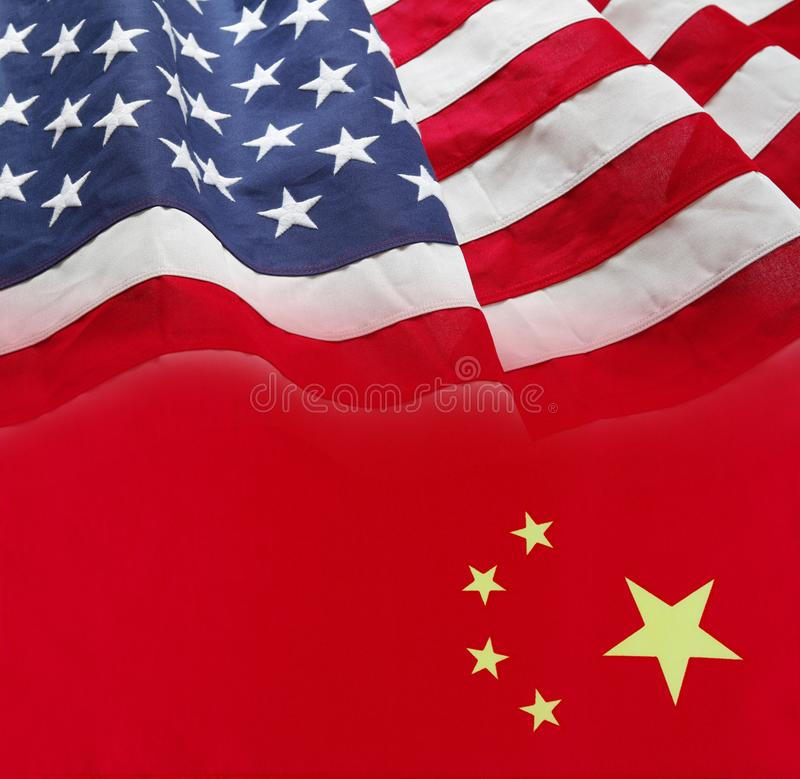 American and China flags. Blended together royalty free stock images