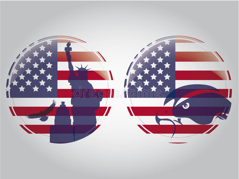 American circles. Two circles of the american flag with an eagle and some buildings as silhouettes royalty free illustration