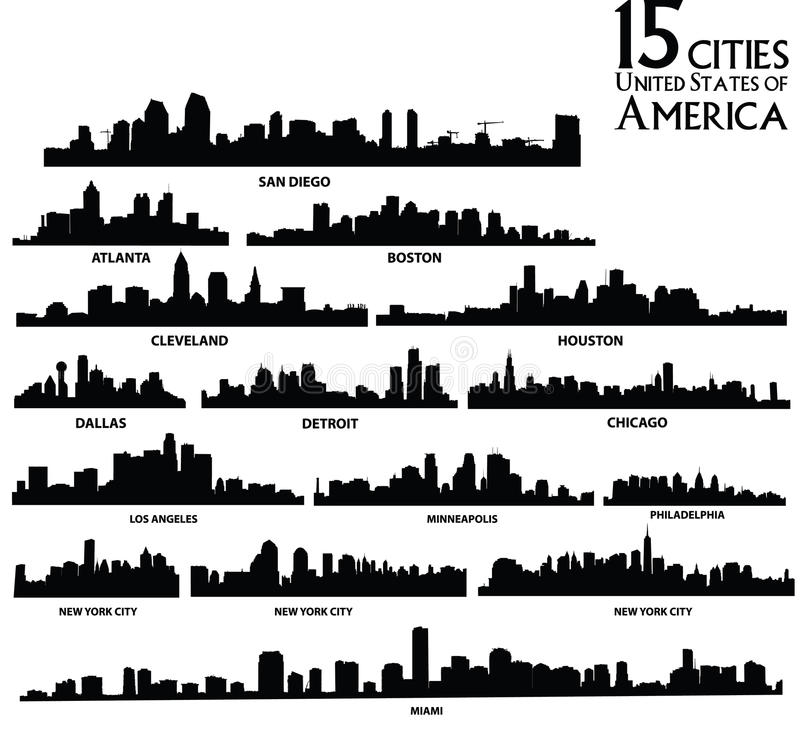American cities skyline set vector illustration