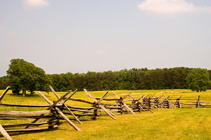 American Civil War battlefield. An view across the open fields where two bloody battles occurred in the American Civil War with a split rail barricade in the stock photo