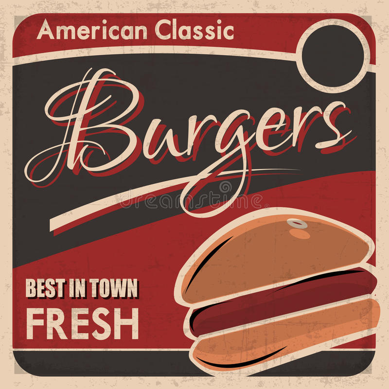 American classic burgers poster stock illustration for Best american classics