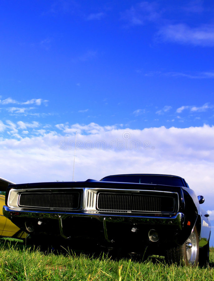 Download American Classic Car - Black Muscle On Grass Stock Image - Image: 7915321