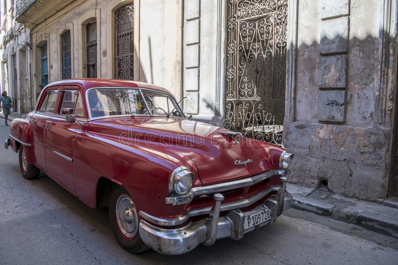 Red American classic car, Chrysler, Cuba royalty free stock images