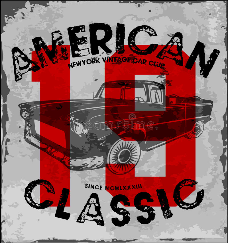 American classic car vintage race car for printing.vector old. School race poster.retro race car set fashion style royalty free illustration