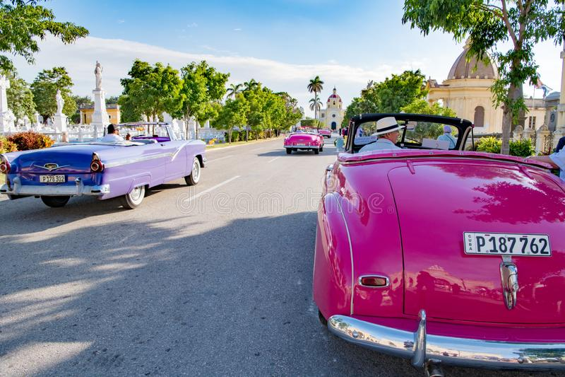 American classic cars on Colon Cemetery, Havana, Cuba stock photos