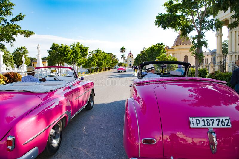 American classic cars on Colon Cemetery, two pink vintage cars, Havana, Cuba royalty free stock images