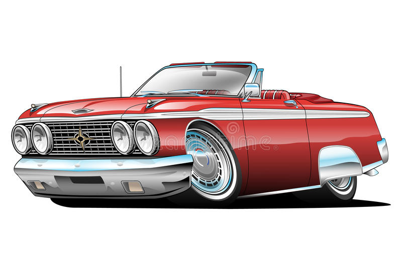 American Classic Convertible Muscle Car Cartoon. Red hot classic convertible muscle car cartoon. Lots of chrome, aggressive stance, low profile, big tires and stock illustration