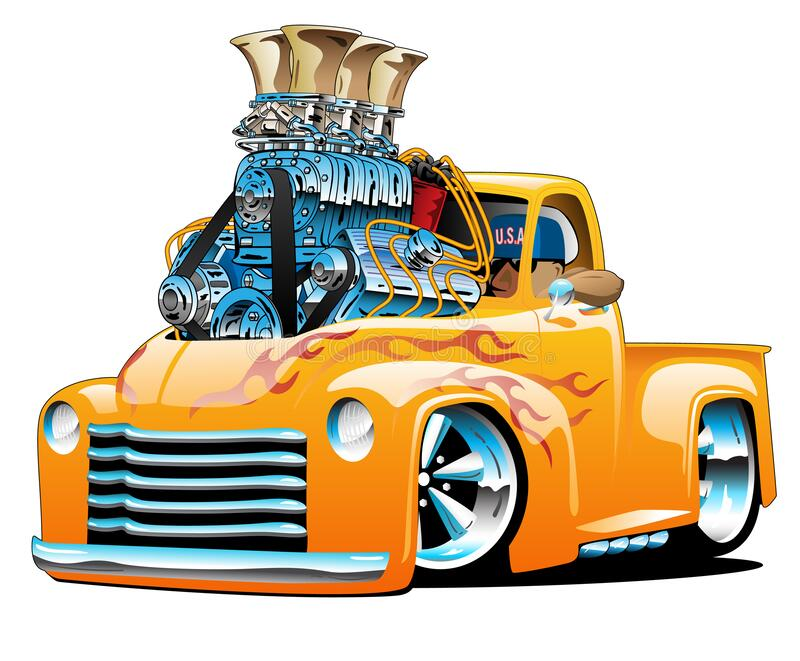 American classic hot rod pickup truck cartoon isolated vector illustration with huge chrome engine, orange and yellow flame paint royalty free stock photography