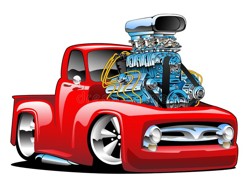 American classic hot rod pickup truck cartoon isolated vector illustration stock images