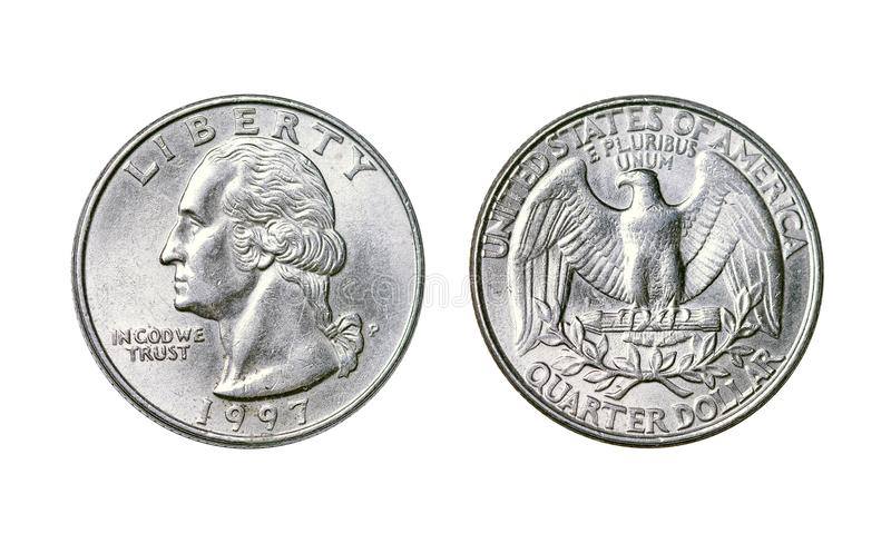 American coin is a quarter dollar, year 1998. A flat, typically round piece of metal with an official stamp, used as money stock photos