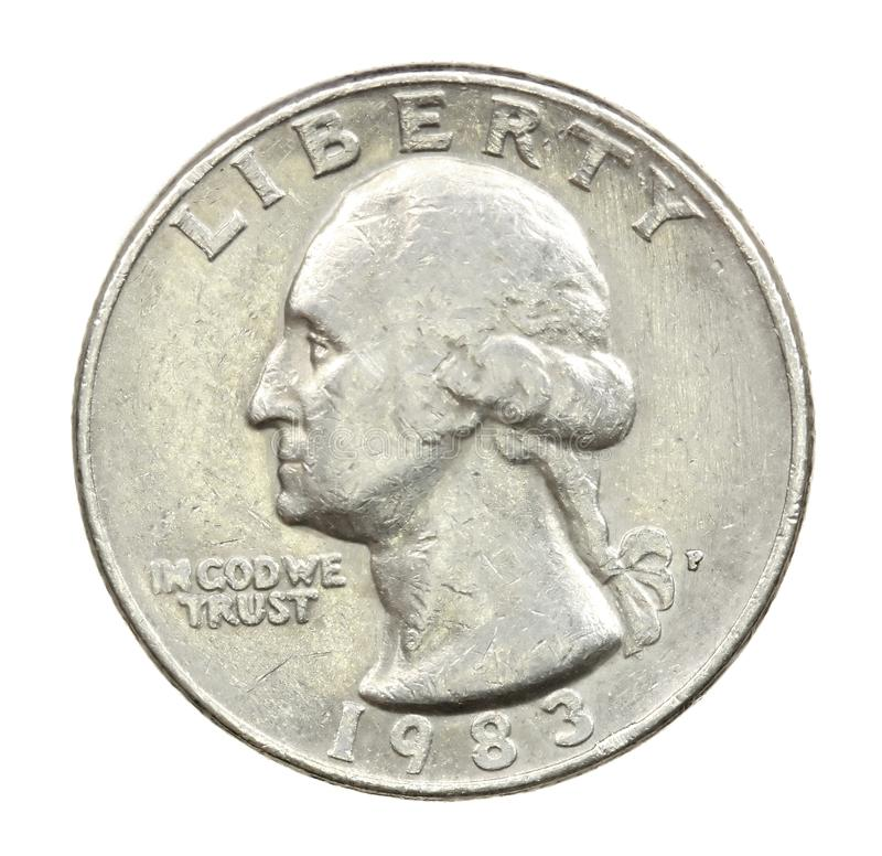 The American coin in twenty five cents. On white stock photography