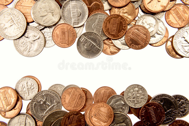 American coins. Closeup of assorted American coins stock photo