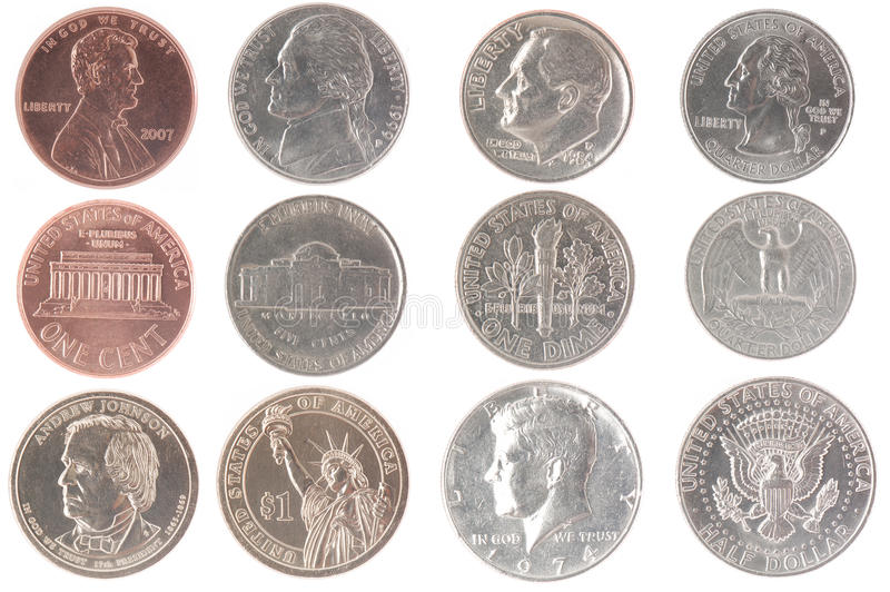 American Coins. Extended set of isolated American coins, including penny, nickel, dime, quarter, half dollar and dollar stock photography