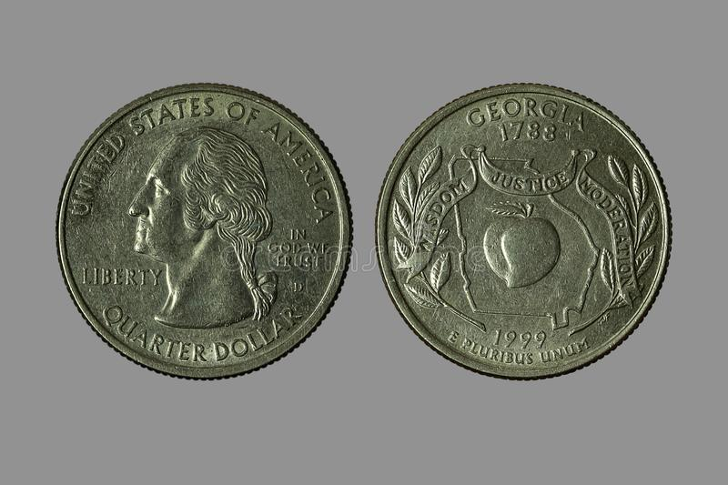American coins. The old silver American dollar isolated on gray background.QUARTER DOLLAR royalty free stock photo