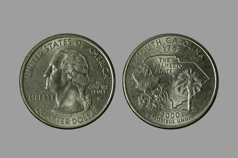 American coins. The old silver American dollar isolated on gray background.QUARTER DOLLAR royalty free stock photography