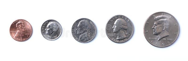 American Coins. Penny, Nickel, Dime, Quarter, Half Dollar - American coins stock photos