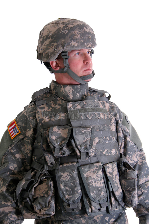 American Combat Soldier. An American Soldier in his full combat gear stock photo