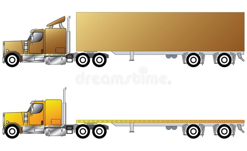 American conventional truck vector illustration
