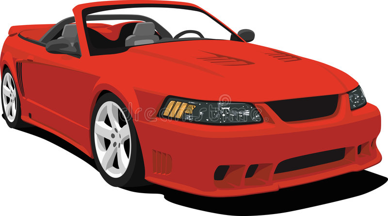 American Convertible Sports Car. An illustration of a Mustang Saleen Sports Car isolated on white. Saved in labeled layers for easy editing. See my portfolio for stock illustration