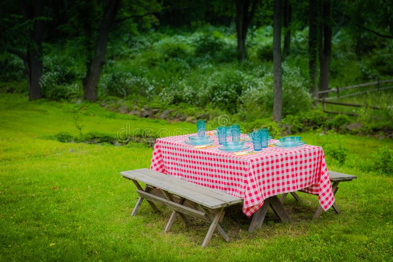 American Country Vintage Picnic Setting. Retro picnic setting on country estate in New York Hudson Valley royalty free stock photo
