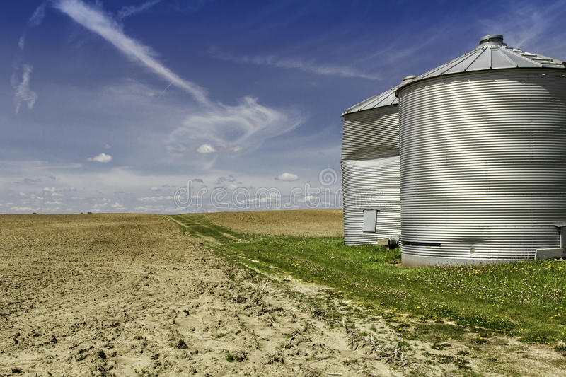 American countryside with silos stock images
