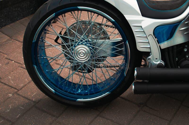 American custom motorcycle close-up, rear wheel.  royalty free stock photos
