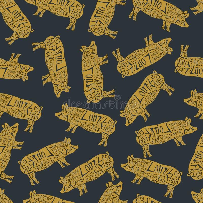 American cuts of pork seamless pattern stock illustration