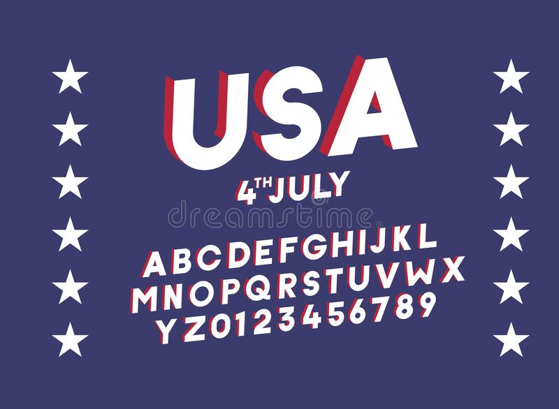 American 3d block alphabet. Vector font for united states of america related concepts vector illustration