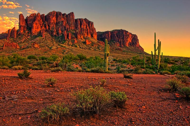 American desert sunset. Sunset view of the desert and mountains near Phoenix, Arizona, USA stock images